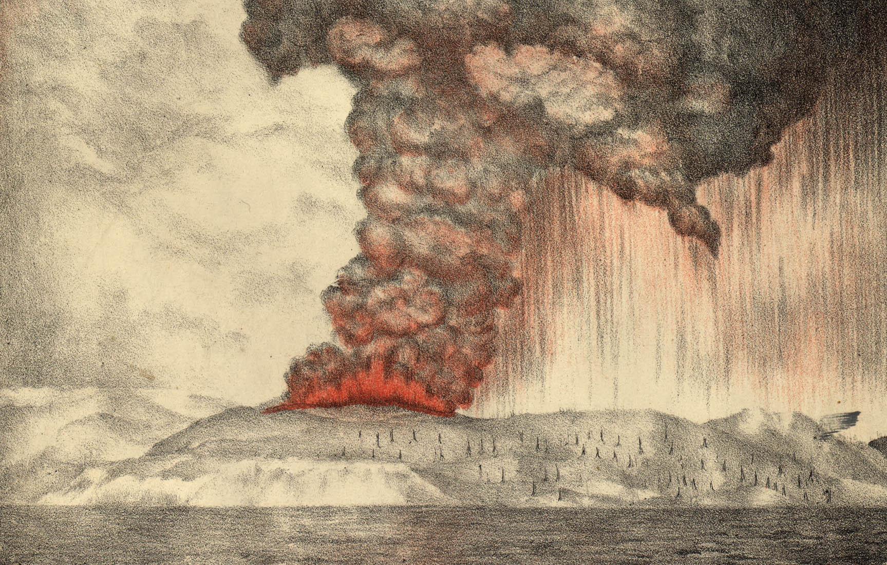 ภูเขาไฟกรากะตัวระเบิดในปี 1883